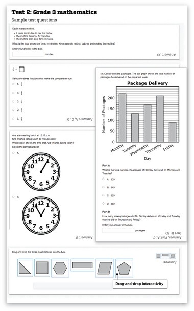 Samples of the third grade math Common Core tests, from PARCC