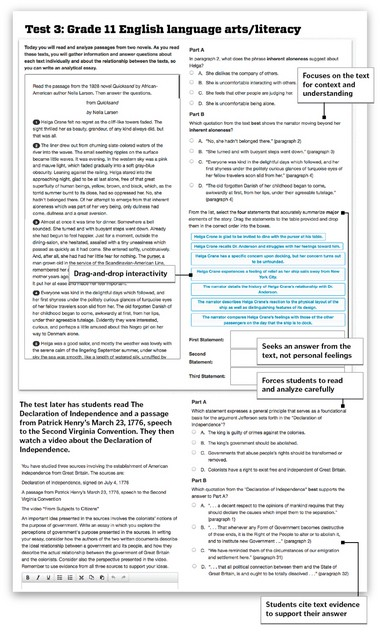Samples of 11th grade Common Core English exams from PARCC
