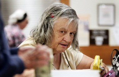 To supplement her fixed income, Linda Sandefur occasionally gets free meals at the Maple Heights Senior Center.
