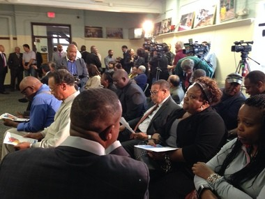 Contractors, residents, politicians and camera crews gathered at the Kenneth L. Johnson Recreation Center, where Gov. John Kasich announced an historic minority set-aside program for the Opportunity Corridor that will link Interstate 490 to University Circle.