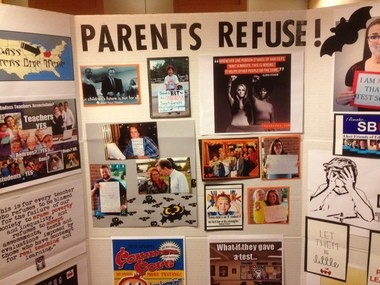 A poster from the Badass Teachers Association (BATs) urging parents to opt out of testing.