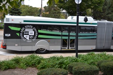 The cities served by RTA's 55 family of buses are shown on the side of one of the new bendable buses that will connect the Stephanie Tubbs Jones Service Center in downtown Cleveland to western suburbs.