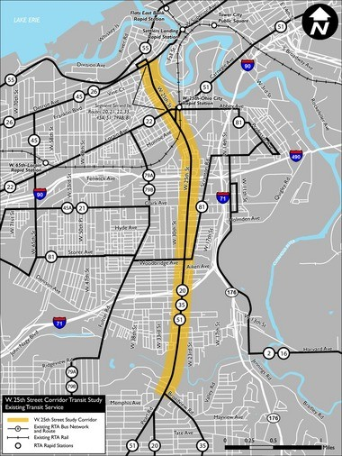 A map shows transit routes along West 25th Street in Cleveland.