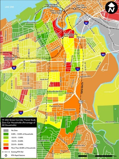 The map shows the neighborhoods surrounding West 25th Street, with their percentage of households without cars.