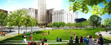 """A digital rendering depicts a daytime view of """"Concert Hill,"""" a feature at the northeast corner of the makeover of Public Square in downtown Cleveland. Construction on the $32 million project begins Monday. Drivers will be detoured around a fenced-off work zone in the square, and numerous bus stops are being temporarily relocated or closed."""