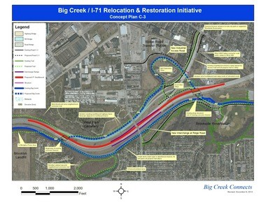 """The map illustrates concepts developed by Big Creek Connects for removing much of the ramp structure off Interstate 71 leading to Denison Avenue, an anomaly left from an expressway started but never completed -- the """"Parma Freeway."""" By also relocating southbound lanes next to the northbound lanes on I-71 and returning Big Creek to much of its original streambed, space would be freed up for a 6.5-mile multipurpose trail connecting Metroparks reservations, while also infusing economic vitality into distressed neighborhoods and lagging industrial/retail sections of Cleveland and Brooklyn, Big Creek Connects says. Click on the map several times to englarge it."""