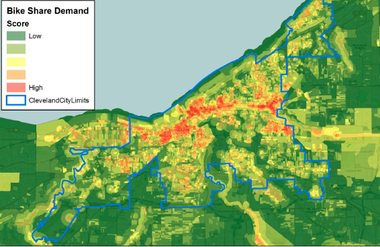 A study commissioned by the city of Cleveland looked at the feasbility of a bike sharing program for Cleveland. The study yielded this map that shows various levels of demand for bike sharing throughout the city.