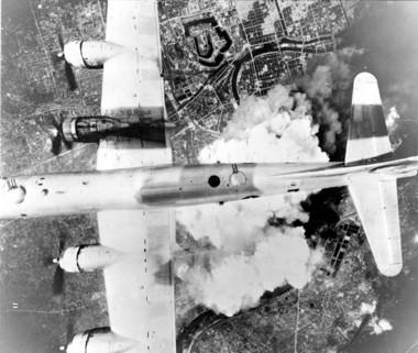 A B-29 over Osaka, Japan on June 1, 1945