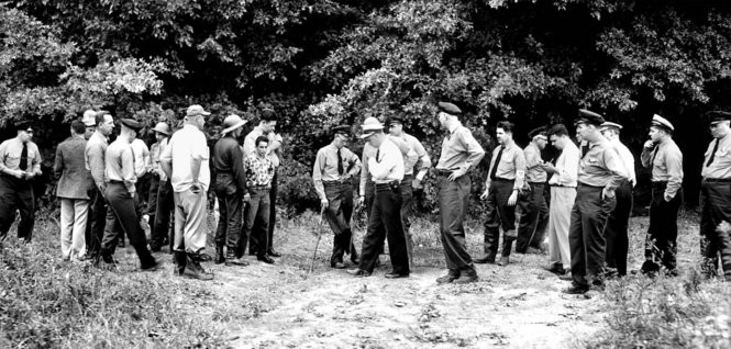 Police search for Beverly Potts in September of 1951, checking the lovers lane/wooded area near the intersection of Snow and Stumph Roads in Parma Heights. Thousands joined the search, which began on Aug. 24, 1951 and continues today with a potential new lead. (Plain Dealer file photo)