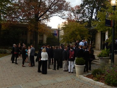 Friends, co-workers and relatives of Matt Shlonsky gathered to remember him Sunday at an American University memorial service.
