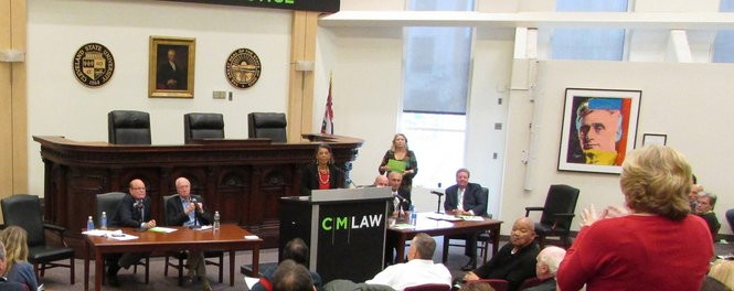 Panelists answer audience questions Friday, November 13, 2015 at Cleveland-Marshall College of Law's symposium on the Sheppard murder case.