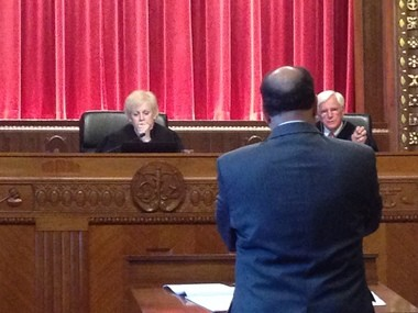 Portage County Prosecutor Victor V. Vigluicci fields questions from Ohio Supreme Court Chief Justice Maureen O'Connor and Justice Terrence O'Donnell at the Moyer Judicial Center in Columbus on Tuesday.