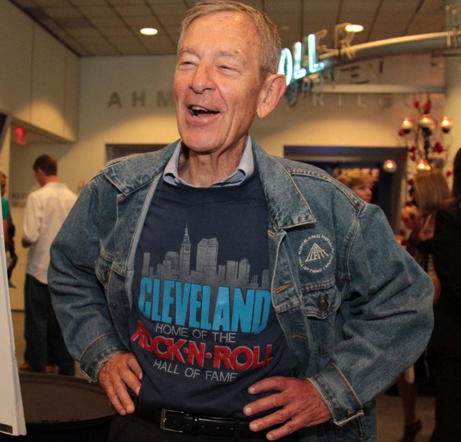 Sen. George Voinovich, honored with the naming of the atrium at the 15th Anniversary celebration of the Rock and Roll Hall of Fame, wears the shirt he wore when he first announced that Cleveland would get the Hall.
