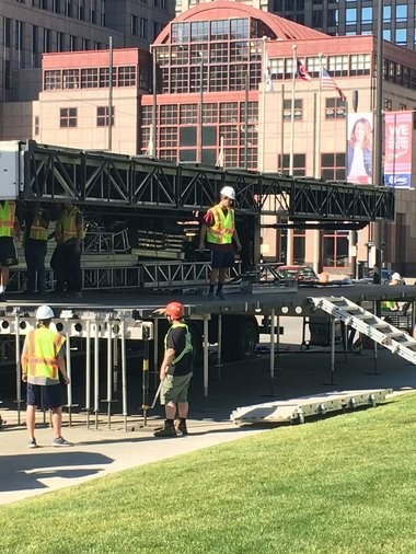 The beginnings of what looks like it could be a stage on St. Clair Avenue, near Cleveland's downtown malls. The parade to honor the Cleveland Cavaliers after their historic victory over the Golden State Warriors is expected to conclude with a program between Malls B and C.