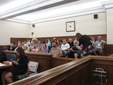 Medina County residents opposed to plans by the Nexus company to run a natural gas pipeline through their properties packed a Medina County courtroom where company lawyers asked a judge to permit environmental surveys of the land. (Michael Sangiacomo/Plain Dealer)