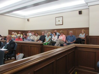 Many of the 39 Medina landowners sued by the Nexus Company over their refusal to allow survey teams onto their property to gather information for a proposed natural gas pipeline packed the Medina County courtroom for a hearing. (Michael Sangiacomo/Plain Dealer)