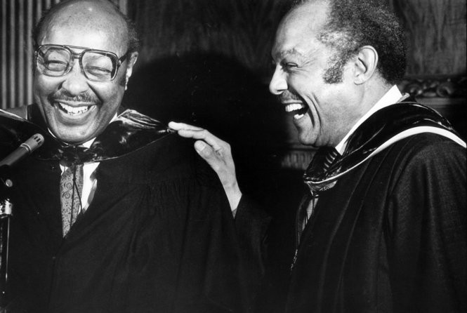 Carl Stokes, right, and Louis Stokes in 1988.