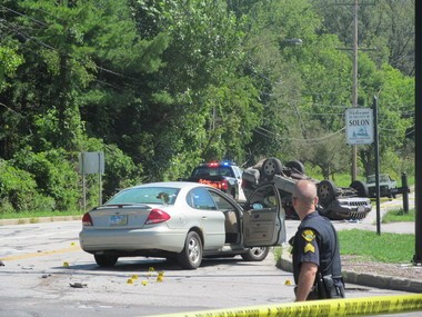 A woman was fatally shot after a car crash in Solon.