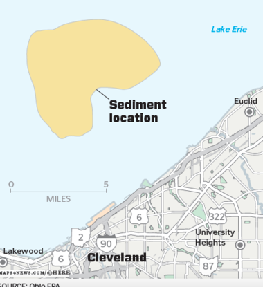 The toxic sediment located in Lake Erie offshore from Cleveland's East Side is the historic dumping ground for polluted sediment dredged from the Cuyahoga River shipping channel prior to the Clean Water Act passage in 1972.