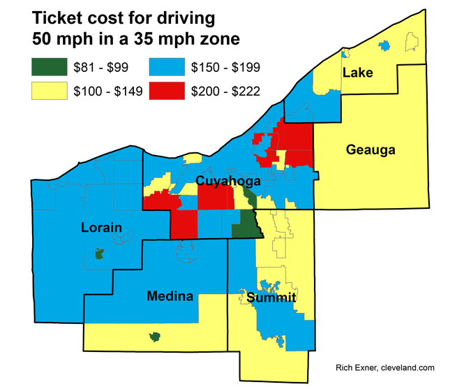 Speeding in Northeast Ohio could cost you $100 in one spot and $200 on the other side of the street, a cleveland.com analysis found. Ultimately, what you pay in the region's mishmosh of mayor's courts and municipal courts boils down to one thing: Where did you get stopped?