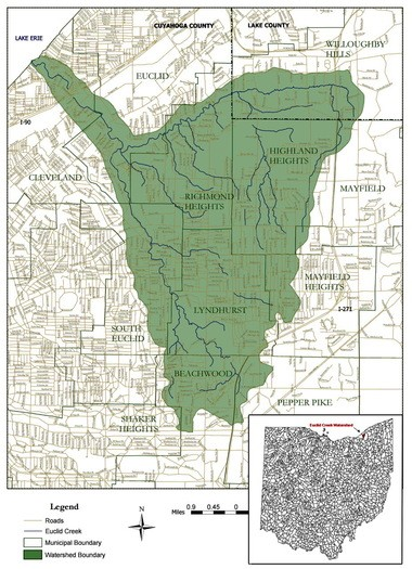 "The Euclid Creek Watershed, which drains 23 square miles in more than 10 Cuyahoga County communities. The Acacia Reservation, though not outlined, is toward the bottom of the map between the words ""Lyndhurst"" and ""Beachwood."" (Cuyahoga Soil and Water Conservation District)"