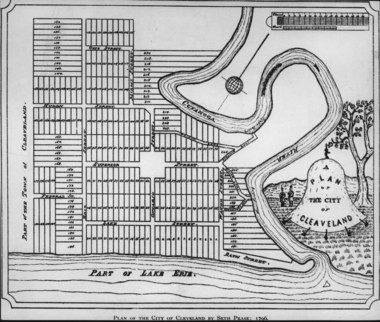 """The Seth Pease map of downtown Cleveland shows Public Square as a space with closed corners and streets entering on the middle of each side. The so-called second map of the city, the Pease drawing spelled the name of city-founder Moses Cleaveland correctly. The first map, by Amos Spafford, dropped the first """"a"""" in Cleaveland, anticipating how the city's name would eventually be spelled."""