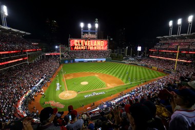 Fans cheer at the start of Game 6 of the World Series, Cleveland Indians vs. Chicago Cubs, in Cleveland on Tuesday, Nov.1, 2016. (Lisa DeJong/The Plain Dealer)