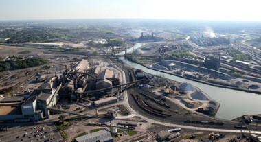 Aerial view of ArcelorMittal along the Cuyahoga River.