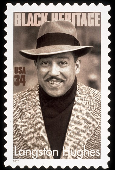 """A U.S. Postal Service stamp featuring a monochrome photograph of author Langston Hughes. The Cleveland Central High grad had a strong connection to Karamu House and its founders. His work often has been featured at Karamu. He returned to see his """"Shakespeare in Harlem"""" at Karamu in 1961. (AP Photo/USPS)"""
