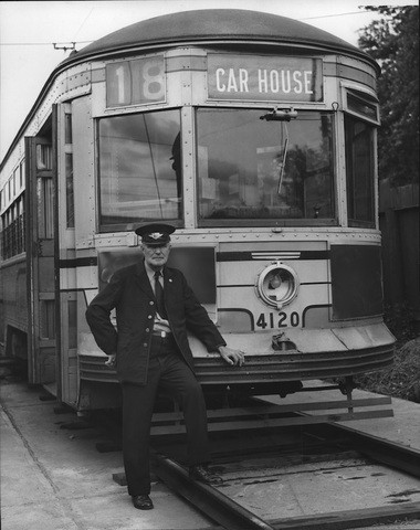 Joseph Taylor just finished his last run before retirement as a conductor for the Rapid Transit system on Aug. 1, 1947. He started his career more than 44 years earlier as a streetcar motorman. (Plain Dealer Historical Collection)
