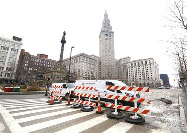 Barricades block through traffic on Superior Avenue on Public Square on Jan. 2, 2017. Superior Avenue has been closed to buses since the Public Square renovation that began in 2015. (Lisa DeJong/The Plain Dealer)