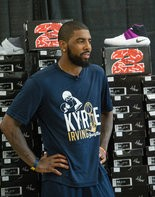 Kyrie Irving, 24, was cited for his honors as an Olympic gold medalist, NBA champion, a three-time All-Star and Rookie of the Year in 2012, as well as sporting his own line of headphones. Irving is shown here at an event at which he, along with Kids Foot Locker, donated 190 pairs of shoes to the Boys & Girls Clubs of Cleveland.