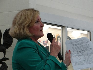 State Rep. Teresa Fedor attacks the state's ESSA plan as lacking vision at Wednesday night's meeting in Avon.