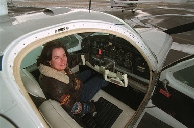 Flight instructor Karen Reed in the cockpit of a Beechcraft Bonanza at the Medina Municipal Airport in 1998. The plane is similar to the one that William Reid was flying in October when freak wind currents forced the plane to tumble out of control. (Bill Kennedy, The Plain Dealer)