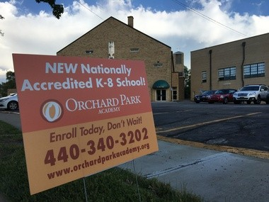 The new Orchard Park elementary charter school is already advertising itself outside St. Mel Parish in the West Park neighborhood, despite its sponsor not having been reviewed by a city panel, as state law requires.