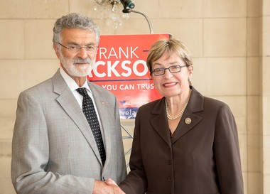 Cleveland Mayor Frank Jackson picked up the endorsement of Rep. Marcy Kaptur this week. Kaptur's congressional district includes the West SIde of Cleveland. Jackson is seeking re-election to a fourth term as mayor.