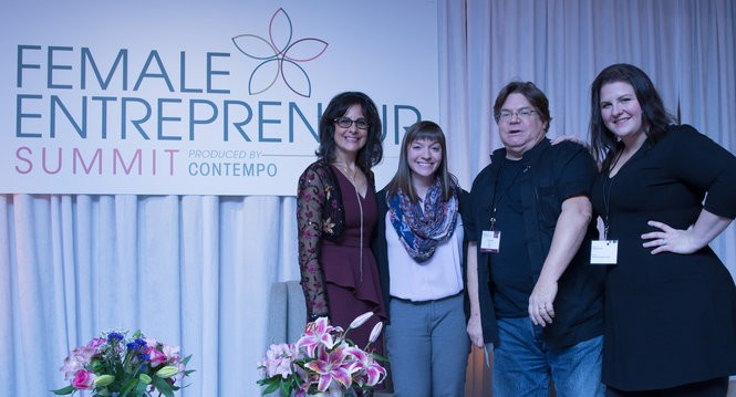 Renee DeLuca Dolan, founder of the 6th Annual Female Entrepreneur Summit, left, stands with Stephanie Ham, chief executive and co-founder of OncoSolutions LLC; Charles Stack, CEO of Flashstarts; and Shannon Lyons, COO of Flashstarts. (Photo courtesy Every Angle Photography)