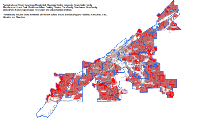 Areas in red and pink are off limits for medical marijuana operations under legislation Cleveland City Council approved on Monday. Dispensaries, cultivation operations and processing facilities can only be located in areas that are white.