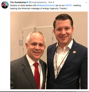 Former Ohio legislator Wesley Goodman poses with former House Freedom Caucus member Tim Huelskamp of Kansas - an ally of Champaign County GOP Rep. Jim Jordan - in this screenshot of a Tweet that was subsequently deleted from Heulskamp's Twitter profile.