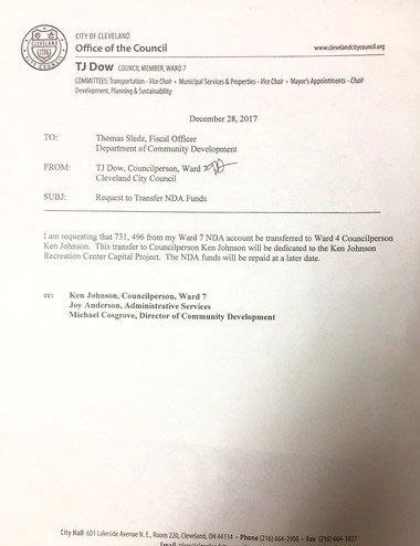 Former Councilman TJ Dow's letter requesting ward development money be moved to Ward 7 and the Ken Johnson Recreation Center.