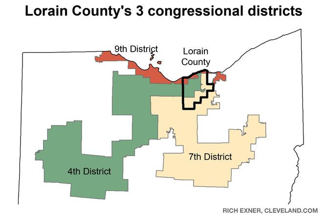 Rep. Dan Ramos of Lorain worries that the proposal leaves open the possibility of a map like this, splitting Lorain County into three far-reaching districts. This is the current map.