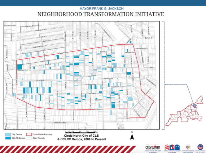 This map shows the part of Glenville that is the first area targeted by Mayor Frank Jackson's neighborhood revitalization initiative. The area stretches from East 105th Street to Lakeview Road between Superior and Ashbury avenues.