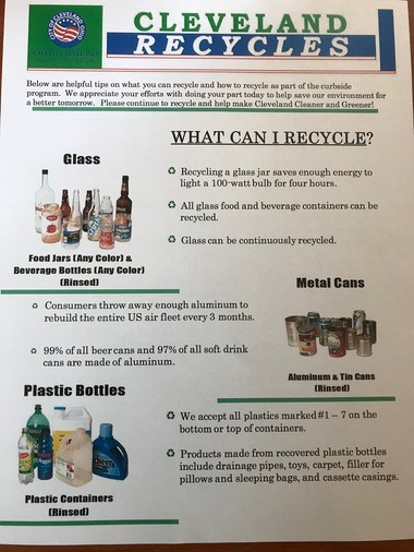 "Some readers complain that the only non-recyclable items listed on a ""Cleveland Recycles"" flyer are blue plastic grocery bags and pizza boxes soiled with grease or food contamination. City spokesman Dan Williams explains that a long list of what isn't recyclable would only add to the confusion, and that a list of what is recyclable is more efficient."