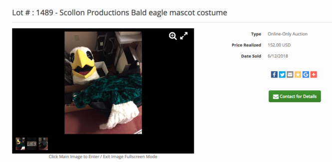 The ECOT auction page for the Eddy the Eagle costume