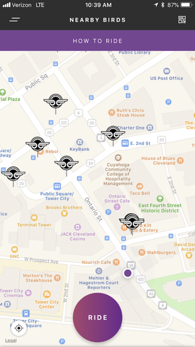 Bird scooter locations displayed all over downtown Cleveland in the Bird app.