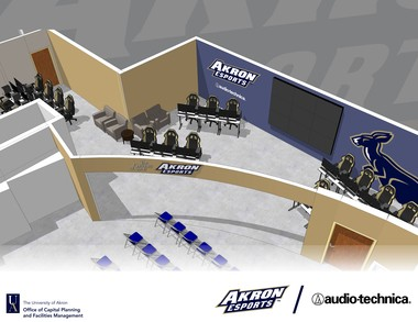 Renderings of the varsity esports space at the University of Akron.