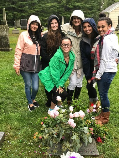Jordan's sister, MaKenna, mom and friends gather Sept. 9 at the cemetery where Jordan is buried to mark what would have been Jordan's 22nd birthday. (Courtesy of Lynne Daus)