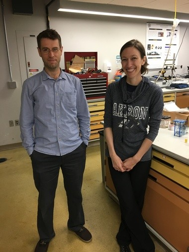University of Akron doctoral student Kelly Siman and assistant professor Hunter King are working to help solve the harmful algal bloom problem in Lake Erie.