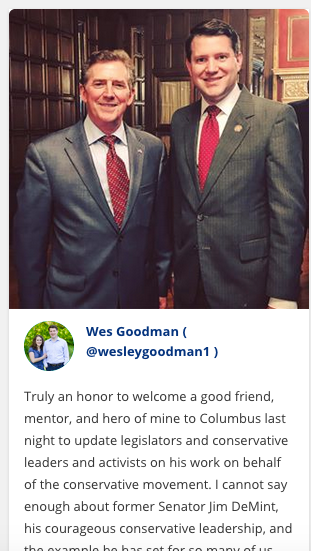 Former Ohio legislator Wesley Goodman poses with former South Carolina Sen. Jim DeMint in this screenshot of photograph posted on an Instagram account that Goodman has since made private.