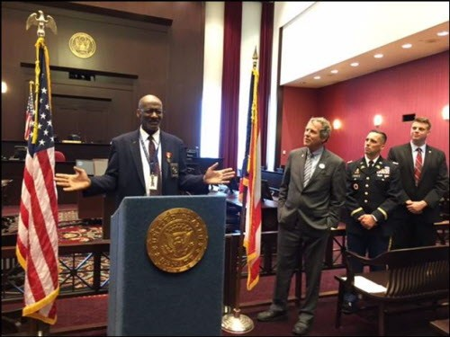 Cleveland veteran George Burress speaks at a ceremony at the Carl B. Stokes Federal Courthouse where he received overdue medals from his service as an Army infantryman in Vietnam. The medals were obtained through the efforts of Sen. Sherrod Brown. (Photo courtesy of Sen. Sherrod Brown's office)